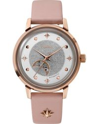 Timex Celestial Opulence Automatic 38mm Leather Strap Watch Rose Gold-tone/pink/silver-tone