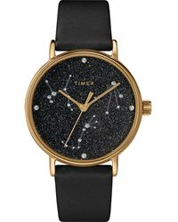 Timex Watch Celestial Opulence 37mm Textured Strap Gold-tone/black