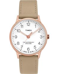 Timex Timex Waterbury Leather Strap Watch - Metallic