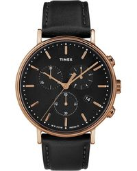 Timex Watch Fairfield Chronograph 41mm Leather Strap Rose Gold-tone/black