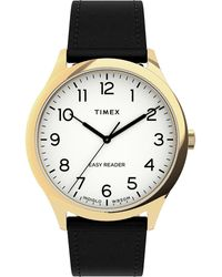 Timex Watch Easy Reader Gen1 40mm Leather Strap Gold-tone/black/white - Multicolour