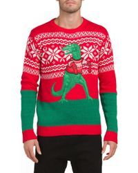 Lyst Tj Maxx T Rex Holiday Christmas Sweater In Red For Men