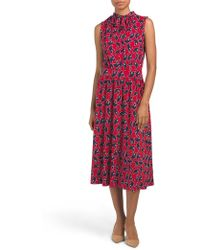a0453ac5a31f Tj Maxx Made In Italy Linen Tropical Print Midi Dress in Blue - Lyst