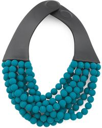 Tj Maxx Handmade In Italy Leather Bella Luxe Matte Beaded Necklace - Blue