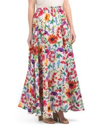 6a1848499 Lyst - Lucky & Coco Mega Sweep Printed Maxi Skirt in White