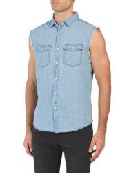 Tj Maxx - Sleeveless Ocean Washed Denim Shirt - Lyst