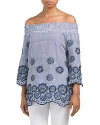 Tj Maxx - Smocked Off The Shoulder Embroidered Top - Lyst