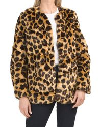 Tj Maxx Juniors Leopard Faux Fur Coat - Brown