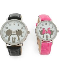Tj Maxx His And Hers Box Set Mickey And Minnie Leather Strap Watches - Pink