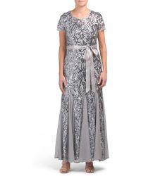Tj Maxx Sequin Embellished Pleated Dress - Metallic