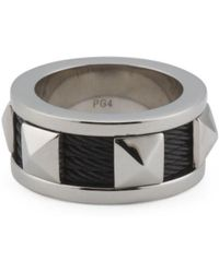 Tj Maxx - Sterling Silver And Black Pvd Stainless Steel Cable Ring - Lyst