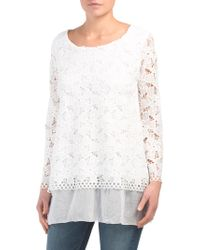 50ad74535bdd5f Tj Maxx Made In Italy Crochet Trim Silk Blend Top in White - Lyst