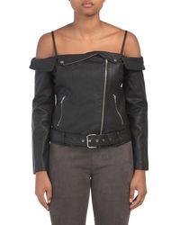 Tj Maxx Juniors Off The Shoulder Faux Leather Jacket - Black