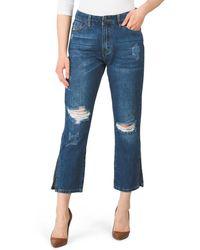 Tj Maxx Juniors Straight Flare Leg Jeans With Slit Cuffs - Blue