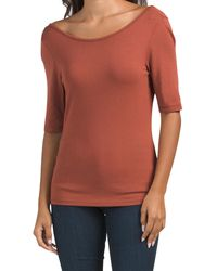 Tj Maxx Pima Cotton Wear 2 Ways Elbow Sleeve T-shirt - Orange