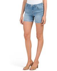 Tj Maxx High Waist Frayed Hem Recycled Denim Shorts - Blue