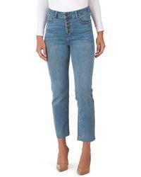 Tj Maxx Button Front Ankle Straight Leg Jeans - Blue