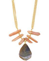 Tj Maxx Made In Usa Rose Quartz And Agate Chain Necklace - Metallic