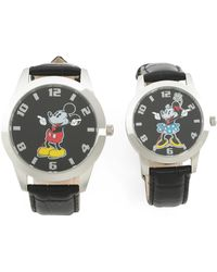 Tj Maxx His And Hers Mickey And Minnie Leather Strap Watches Box Set - Metallic