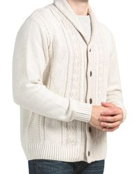 Tj Maxx Textured Cable Shawl Button Cardigan - Natural