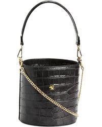 Tj Maxx Made In Italy Leather Croco Bucket Bag - Black
