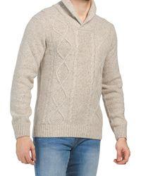 Tj Maxx Made In Italy Wool Blend Shawl Collar Cardigan - Natural