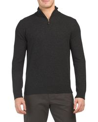 Tj Maxx Made In Italy Cashmere Quarter Zip Sweater - Gray