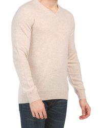 Tj Maxx Mongolian Cashmere V-neck Pullover Sweater - Natural