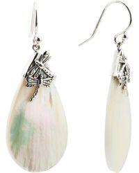 Tj Maxx Made In Bali Sterling Silver Mop Dragonfly Earrings - Metallic