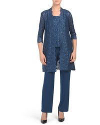 Tj Maxx - Petite 3pc Pantsuit With Lace Jacket And Top - Lyst