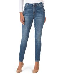 Tj Maxx Straight Leg Jeans With Side Buttons - Blue