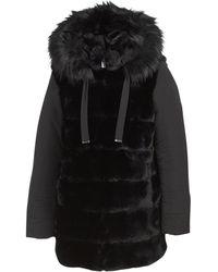 Tj Maxx Women's Mixed Media Grooved Faux Fur Coat - Black