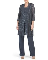 Tj Maxx Made In Usa Lace Midi Jacket Pantsuit - Multicolor