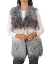 Tj Maxx Color Block Faux Fur Vest - Gray