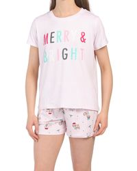 Tj Maxx Merry And Bright Shortie Set - Pink