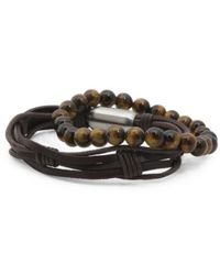 Tj Maxx - Men's Set Of Tigers Eye Bead And Multirow Leather Bracelets - Lyst