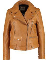 TK Maxx Sheepskin Leather Biker Jacket - Brown