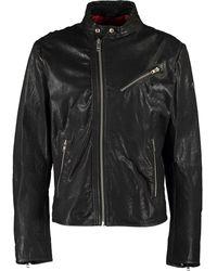 TK Maxx Distressed Leather Jacket - Black