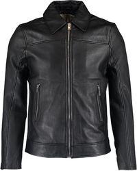 TK Maxx Black Collared Leather Jacket