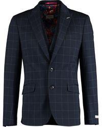 TK Maxx Windowpane Three Piece Suit - Blue