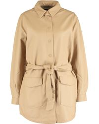 TK Maxx Tan Faux Leather Belted Coat - Natural