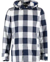 TK Maxx Grey & White Gingham Coat - Blue