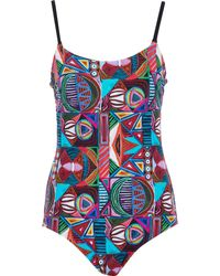 TK Maxx Ed Abstract Print Padded Swimsuit - Blue