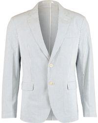 TK Maxx White & Pinstripe Slim Fit Blazer - Blue