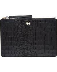 TK Maxx Leather Snake Pattern Clutch Bag - Black