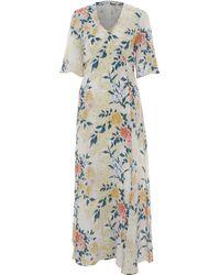 TK Maxx Cream Silk Maxi Dress - Multicolour
