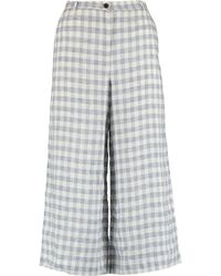 TK Maxx & White Gingham Linen Wide Crop Trousers - Blue