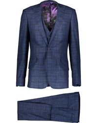 TK Maxx Three Piece Chequered Suit - Blue