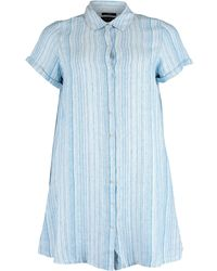 TK Maxx & White Striped Linen Button Down Dress - Blue