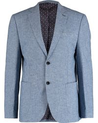 TK Maxx Linen Blend Balham Check Blazer - Blue